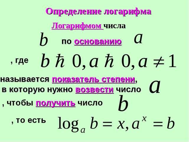 Логарифмом числа по основанию , где называется показатель степени, в которую...