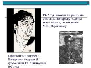 Карандашный портрет Б. Пастернака, созданный художником Ю. Анненковым 1921 го