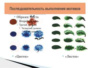 Последовательность выполнения мотивов «Цветок» «Листок»