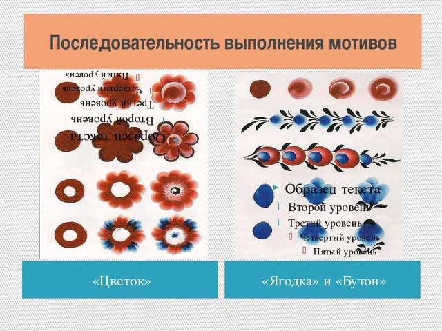 Последовательность выполнения мотивов «Цветок» «Ягодка» и «Бутон»