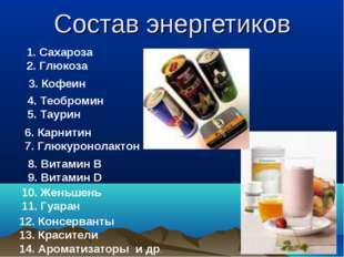 Состав энергетиков Сахароза Глюкоза 3. Кофеин 4. Теобромин 5. Таурин 6. Карни