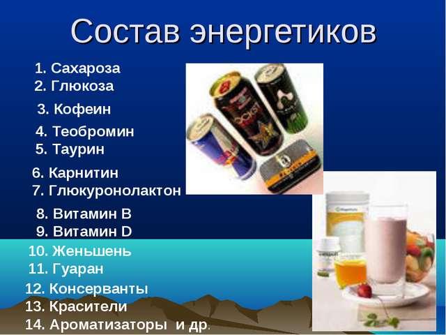 Состав энергетиков Сахароза Глюкоза 3. Кофеин 4. Теобромин 5. Таурин 6. Карни...