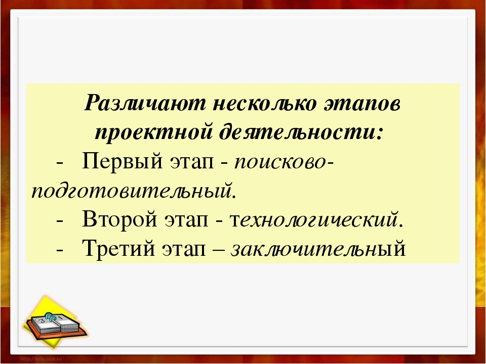 Различают несколько этапов проектной деятельности: - Первый этап - поисково-п...