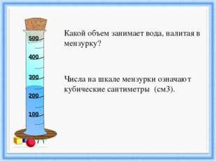 Какой объем занимает вода, налитая в мензурку? Числа на шкале мензурки означ