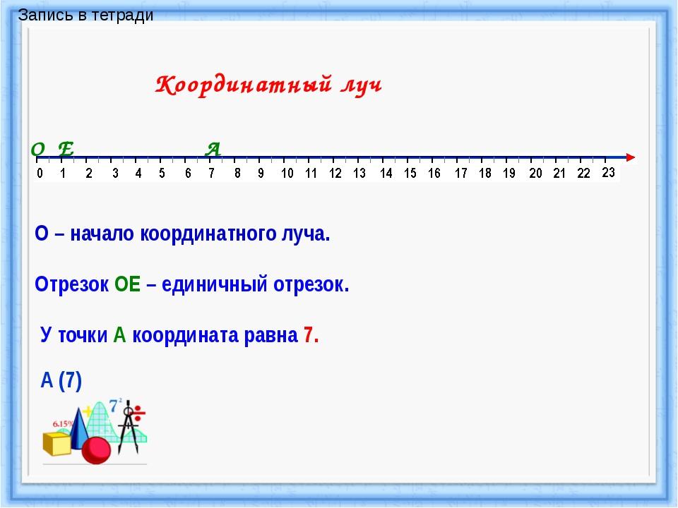 Координатный луч О О – начало координатного луча. Е Отрезок ОЕ – единичный от...