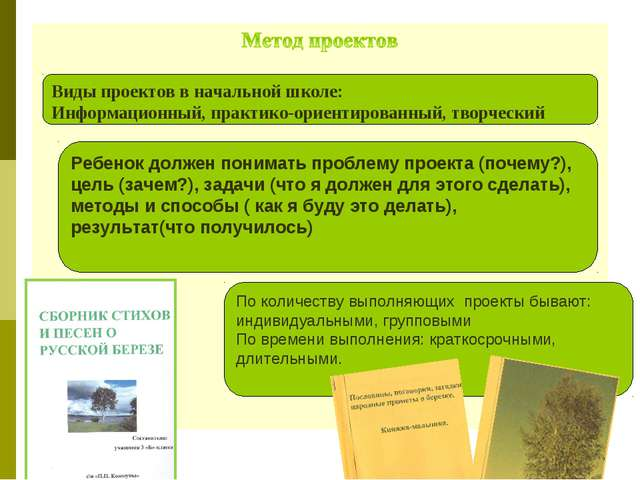 Виды проектов в начальной школе: Информационный, практико-ориентированный, тв...