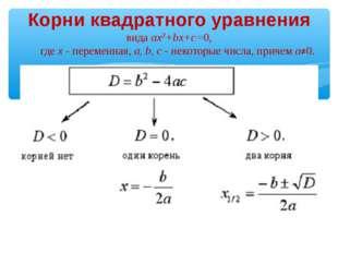 Корни квадратного уравнения вида ax2+bx+c=0, где x - переменная, a, b, c - не