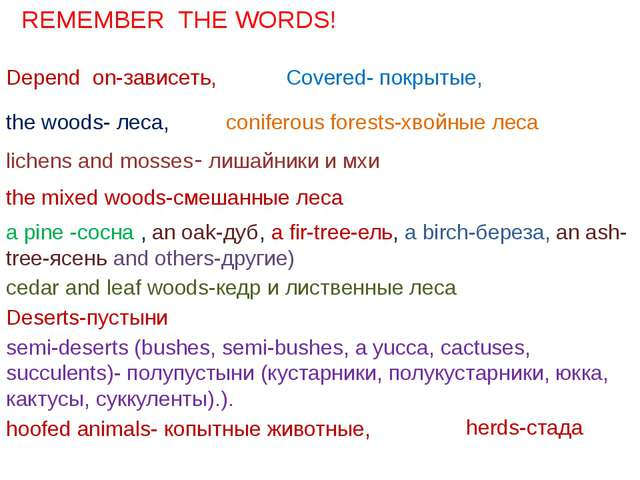 Depend on-зависеть, the woods- леса, Covered- покрытые, coniferous forests-хв...