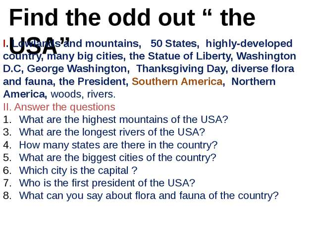 """Find the odd out """" the USA"""" I. Lowlands and mountains, 50 States, highly-deve..."""