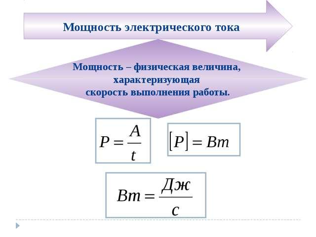 Мощность – физическая величина, характеризующая скорость выполнения работы. М...