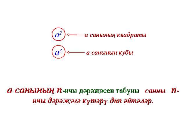 a2 a санының квадраты a3 a санының кубы a санының n-нчы дәрәҗәсен табуны санн...