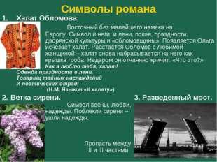 Символы романа Халат Обломова. Восточный без малейшего намека на Евро