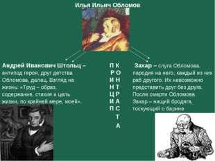Илья Ильич Обломов Андрей Иванович Штольц – П К Захар – слуга Обломова. ан
