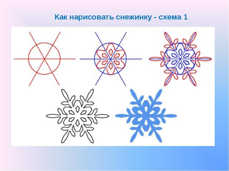 Как нарисовать снежинку - схема 1