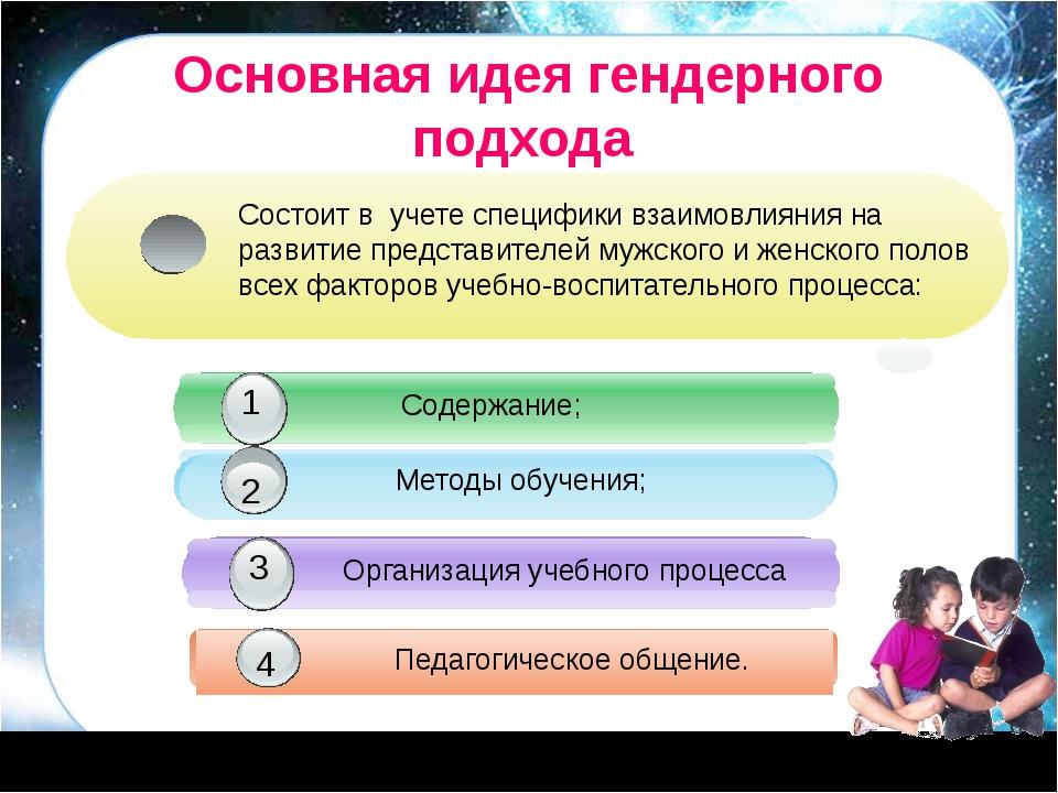 Основная идея гендерного подхода Содержание; 1 Методы обучения; 2 Организаци...