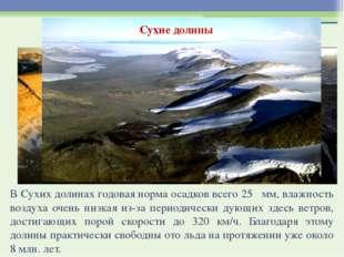 Сухие долины В Сухих долинах годовая норма осадков всего 25 мм, влажность воз