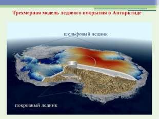 Трехмерная модель ледового покрытия в Антарктиде шельфовый ледник покровный л