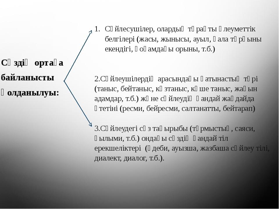 Сөздің ортаға байланысты қолданылуы: Сөйлесушілер, олардың тұрақты әлеуметтік...