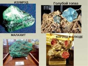 ИЗУМРУД Голубой топаз МАЛАХИТ КОРУНД В СЛЮДЕ
