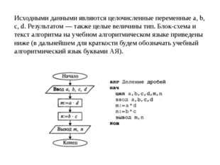 Исходными данными являются целочисленные переменные а, b, с, d. Результатом —