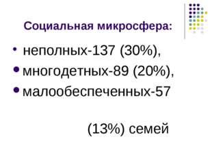 Социальная микросфера: неполных-137 (30%), многодетных-89 (20%), малообеспече