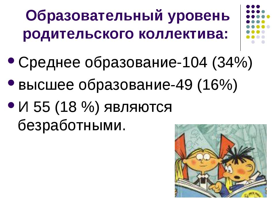 Образовательный уровень родительского коллектива: Среднее образование-104 (34...