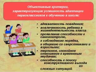 адекватность поведения; вовлеченность ребенка в жизнедеятельность класса проя