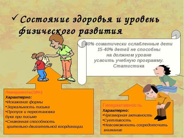Состояние здоровья и уровень физического развития 80% соматически ослабленные...