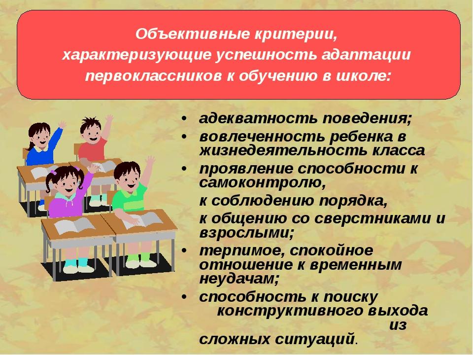 адекватность поведения; вовлеченность ребенка в жизнедеятельность класса проя...