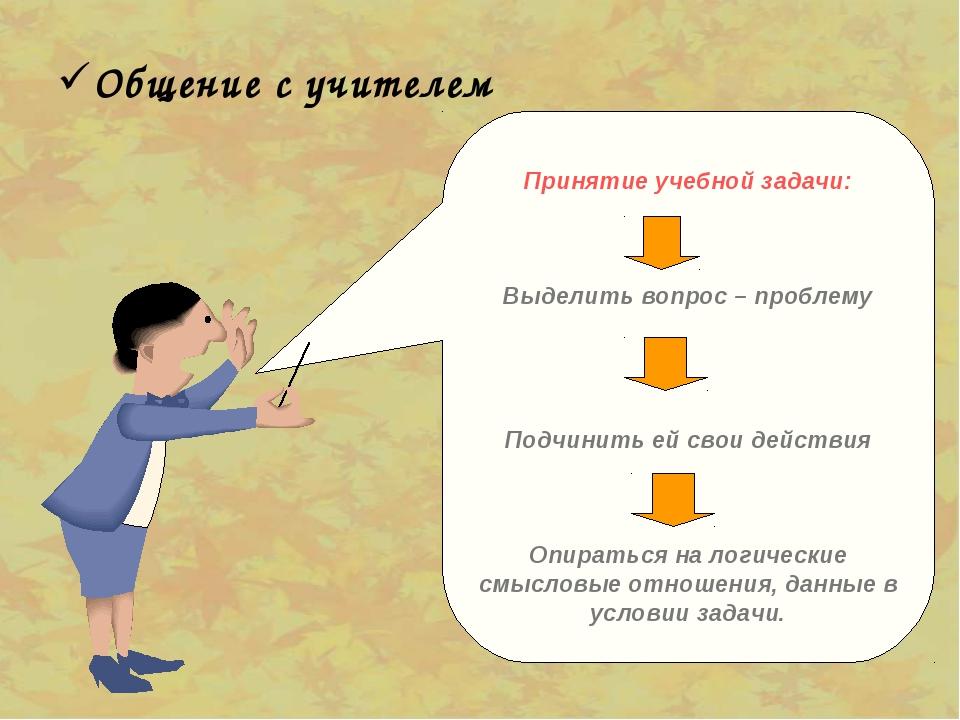 Общение с учителем Принятие учебной задачи: Выделить вопрос – проблему Подчин...
