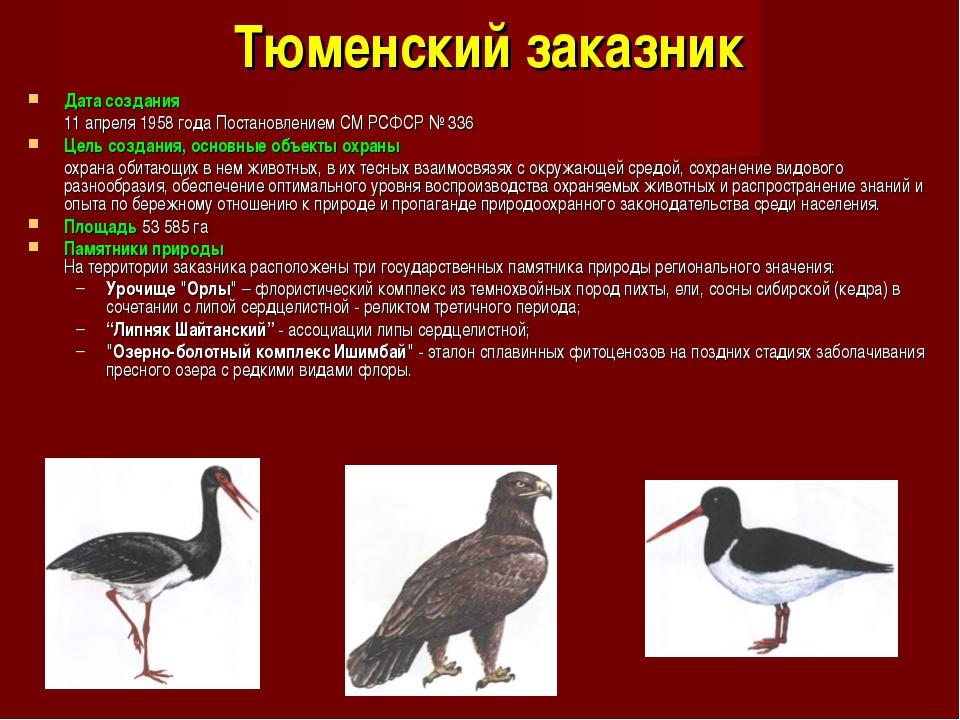 Тюменский заказник Дата создания 11 апреля 1958 года Постановлением СМ РСФСР...