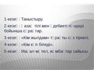 1-кезең: Таныстыру. 2-кезең: Қазақ тілі мен әдебиеті пәндері бойынша сұрақтар
