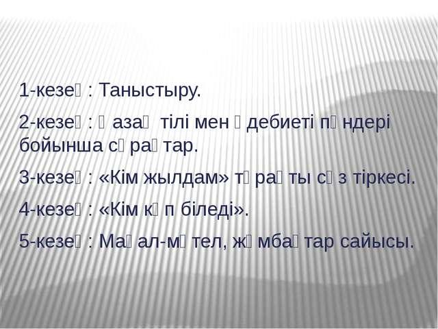 1-кезең: Таныстыру. 2-кезең: Қазақ тілі мен әдебиеті пәндері бойынша сұрақтар...
