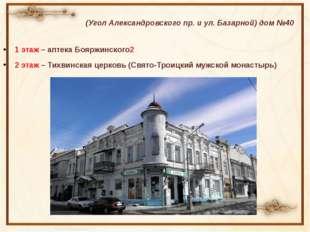 (Угол Александровского пр. и ул. Базарной) дом №40 1 этаж – аптека Бояржинско