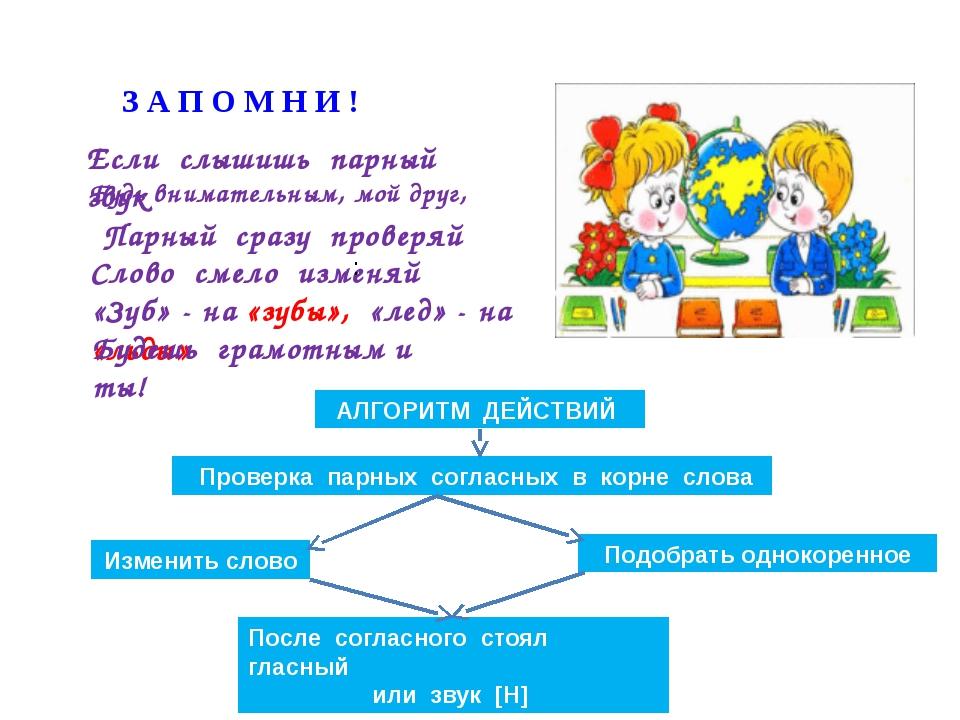 таблица способы проверки парных согласных в корне слова силу того, что