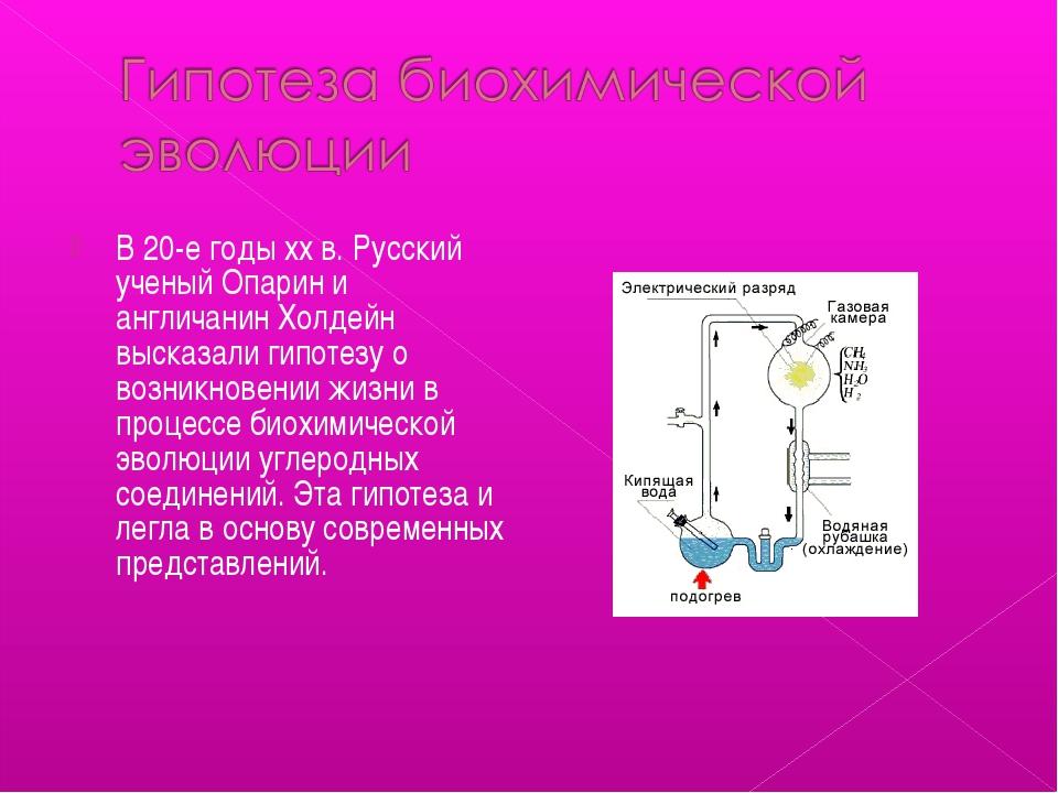 В 20-е годы xx в. Русский ученый Опарин и англичанин Холдейн высказали гипоте...