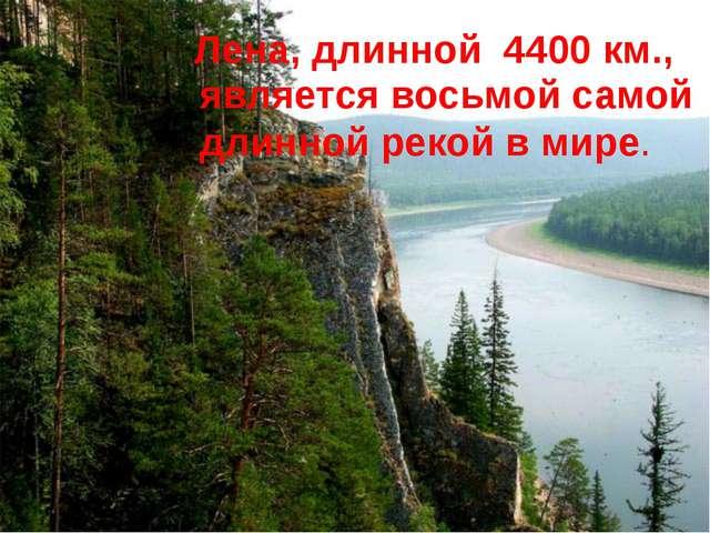 Лена, длинной 4400 км., является восьмой самой длинной рекой в мире.