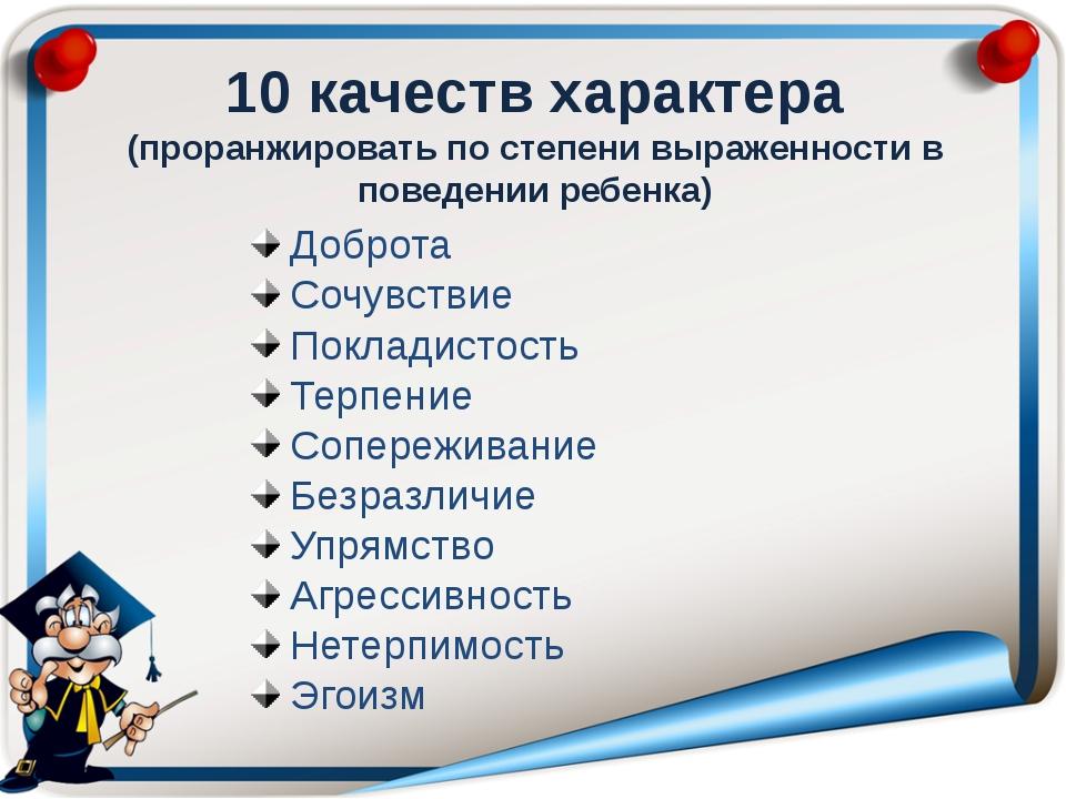 10 качеств характера (проранжировать по степени выраженности в поведении ребе...
