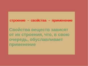 строение → свойства → применение Свойства веществ зависят от их строения,