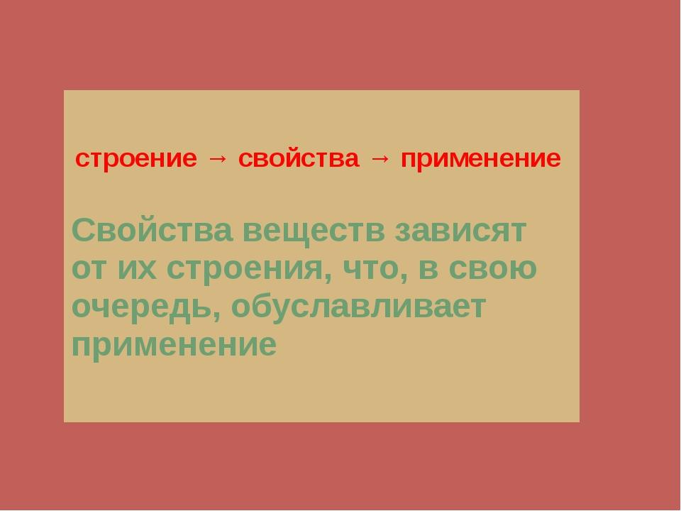 строение → свойства → применение Свойства веществ зависят от их строения,...