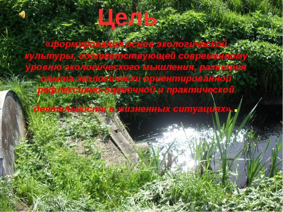 Цель «формирования основ экологической культуры, соответствующей современному...