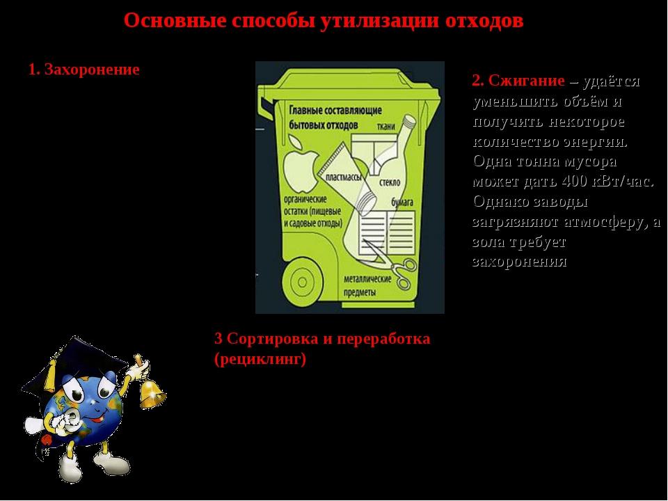 Основные способы утилизации отходов 1. Захоронение – антиэкологичный вариант....