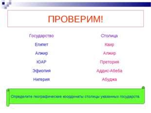 ПРОВЕРИМ! Определите географические координаты столицы указанных государств.