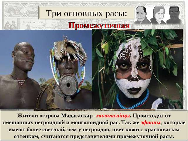 Жители острова Мадагаскар -малагасийцы. Происходят от смешанных негроидной и...