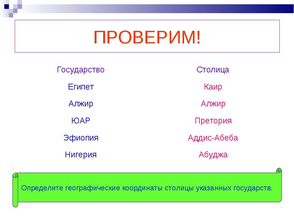 ПРОВЕРИМ! Определите географические координаты столицы указанных государств....