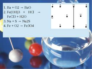 Ba + O2→ BaO Fe(OH)3+ HCl → FeCl3+ H2O Na + S → Na2S Fe + O2→ Fe3O4