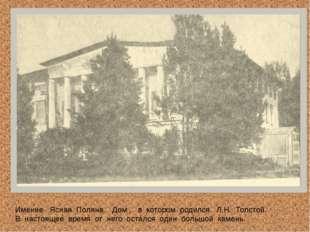 Имение Ясная Поляна. Дом , в котором родился Л.Н. Толстой. В настоящее время