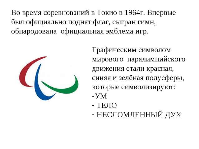 Во время соревнований в Токио в 1964г. Впервые был официально поднят флаг, сы...