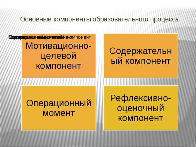 Основные компоненты образовательного процесса