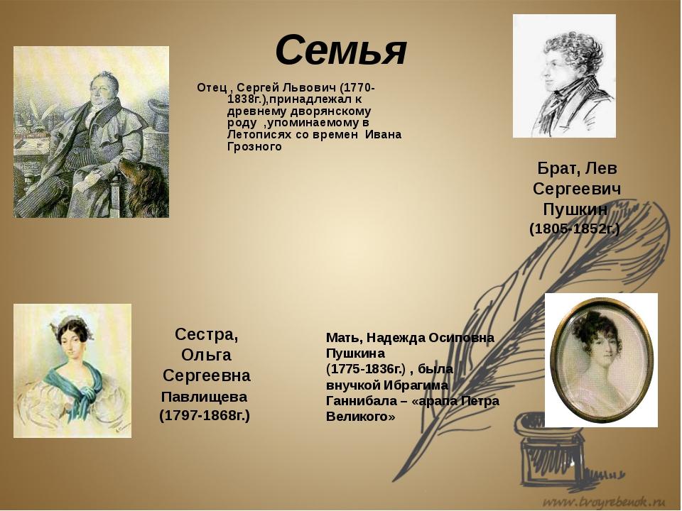 Семья Отец , Сергей Львович (1770-1838г.),принадлежал к древнему дворянскому...